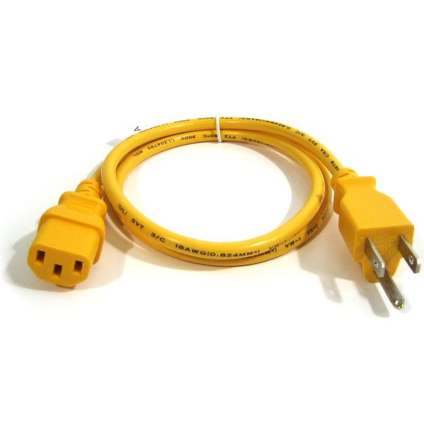 Cpc03 Y 3 Ft 18awg Yellow Cpu Power Cord 5 15p To Iec C13