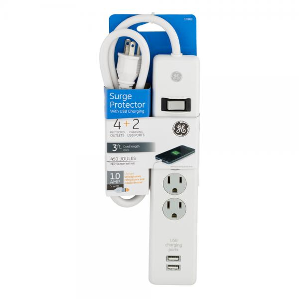 P Ge10589 Ge Surge Protector 4 Outlets 2 Usb Charging